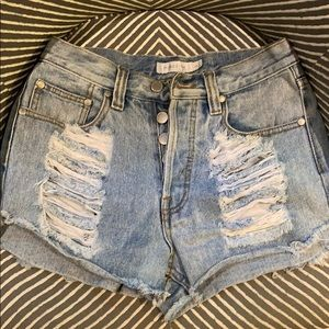 Minkpink High Waisted Distressed Jean Shorts